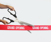 60cm Black/Silver Ceremonial Ribbon Cutting Scissors with 5 Yards of 10cm Red Grand Opening Ribbon