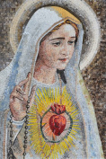 Virgin Mary Sacred Heart Religious Icon Marble Mosaic Hand Made