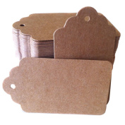 EUBUY 50/100 Packs Brown Kraft Card Paper Tag Bonbonniere Wedding Party Favour Punch Label Price Gift Tags with String