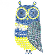 Hand-made Rhinestone Transfer Hot Fix Motif Fashion Design Owl Colour Decorationr 1 Sheets