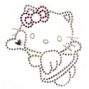 Rhinestone Transfer Hot Fix Motif Fashion Design Jewellery Pink Ribbon Cat Deco 3 Sheets 11cm X4.18cm Inch