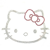 Rhinestone Transfer Hot Fix Motif Fashion Design Jewellery Cute Cat Decor B 3 Sheets 17cm X4.20cm Inch