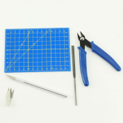 9pc Plastic Modelling Tool Set - Cutting Mat, Precision Cutter & Blades, Flat File, Nippers