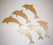 Dolphin Cut Outs Unfinished Wood Mini Dolphins 7.6cm Inch 6 Pieces DOLP-06