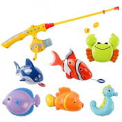 Puzzle Magnetic Fishing Game Ocean 1 Rod 6 Fish Kid Children Bath Hook Toy Funny