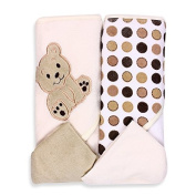 SpaSilk Ivory Bear 2 Hooded Towels and 2 Wash Cloths