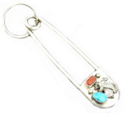 Hand Crafted By Virginia Johnson Giant Safety Pin W/key Ring Chain W/nugget Dyed Turquoise & Coral Crafted Eagle