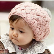 FuzzyGreen® Pink Cute Baby Knit Crochet Winter Beanie Hat Cap Lovely Toddler Infant Kids Girl Child Warm Headwear