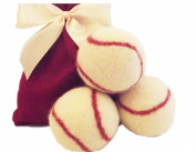 Wool Baseballs, Dryer Balls 100% Wool Ecofriendly- All-Natural Fabic Softener and Engery Saver - Cute Baseball design Gift Set of Three - Handmade in America, Natural and Unscented