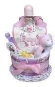 Babygiftidea 2 Tiered Girl's Nappy Cake