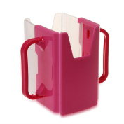 Baby Toddler Kid Adjustable Juice Milk Box Drinking Bottle Cup Holder Fuchsia