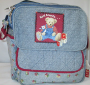 Blue Jean Teddy Bottle Bag with Free Wipes Container Infant Baby