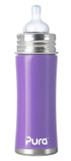 PURA KIKI Stainless Steel Infant Bottle with Natural Vent Nipple, 330ml, Lavender
