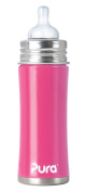 PURA KIKI Stainless Steel Infant Bottle with Natural Vent Nipple, 330ml, Pretty Pink