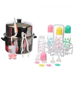 Baby King 25-Piece Plastic Bottle Steriliser Kit - colours as shown, one size