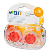 Philips Avent 6-18 Months Red Translucent Soothers Dummies Scf170/22 New 2 Pack