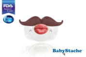 Babystache Moustache Design Brown Pacifier for Your Little Cutie Pie - Kissable Barber - Made of Safe BPA Free Food Grade Plastic
