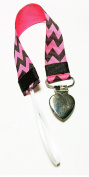 Hot Pink Zig Zag Pacifier Holder