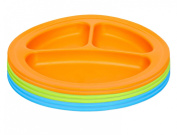 Green Eats Divided Feeding Plate, 6 Count, Blue/Green/Orange