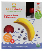 HappyBaby - Organic Baby Food Stage 2 Meals Ages 6+ Months Banana, Beet & Blueberry - 4 x 100ml Pouches