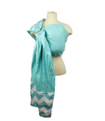Snuggy Baby Blue Chevron Linen Banded Ring Sling Baby Carrier