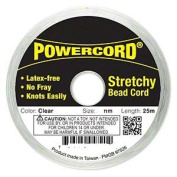 Powercord. Elastic Clear 1mm Diameter 6.4kg Test. Sold Per 25-metre Spool.