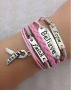 EmBest Pink faith,believe and Breast Cancer Awareness Charm Bracelet in Silver - Breast Cancer Awareness Ribbon