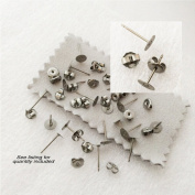 Titanium earring supplies,40 pcs, 20- 6mm pad posts and 20 pcs. stainless backs,hypoallergenic jewellery
