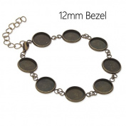 5pcs-Antique Bronze Plated Bracelet Blanks with 8 Bezel Settings-fit 12mm Cabochon