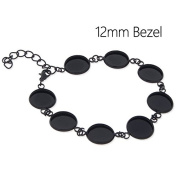 5pcs-Black Bracelet Blanks with 8 Bezel Settings-fit 12mm Cabochon