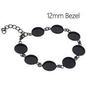 5pcs-Black Bracelet Blanks with 8 Bezel Settings-fit 12mm Cabochon