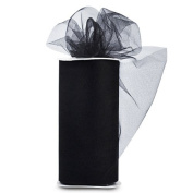 """Tulle Shiny 15cm "" Wide 25 Yards Buy-The-Spool-Black"""