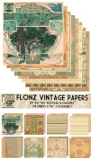 Paper Pack (24sh 15cm x 15cm ) Art Nouveau Frames Flourishes FLONZ Vintage Paper for Scrapbooking and Craft
