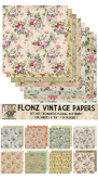 Paper Pack (24sh 15cm x 15cm ) Romantic Vintage Floral Pattern FLONZ Vintage Paper for Scrapbooking and Craft