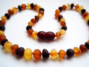 The Art of CureTM Baltic Amber Baby Teething Necklace - Raw Multi-Coloured -(Unisex) - Certified Baltic Amber Baby Teething Necklace Highest Quality Guaranteed- Anti Inflammatory, Drooling & Teething Pain. Easy to Fastens with a Twist-in Screw Clasp Mo ..