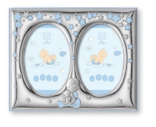 Silver Touch USA Finest Sterling Silver Double Picture Frame, Blue, 13cm X 18cm