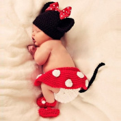 Coromose Creative Safty Newborn Baby Knit Crochet Minnie Clothes Hat+skirt+shoes Photo Prop Outfits Mickey Mouse Patern