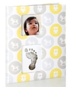 Pearhead Babybook Records and Moments with Footprint - Grey & Yellow Rocking Horse
