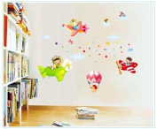 OneHouse Children Flying Dream Planes Balloon in Sky Wall Sticker