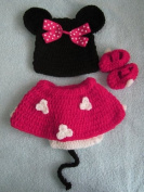 Photo Prop Baby Crochet Outfit Hat Shoes Nappy Cover Mouse 4pcs pink
