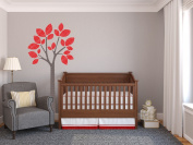 Modern Tree Fabric Wall Decal in Red - 4 Colour Options Available - Peel and Stick Fabric Nursery Wall Sticker