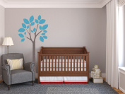 Modern Tree Fabric Wall Decal in Blue - 4 Colour Options Available - Peel and Stick Fabric Nursery Wall Sticker