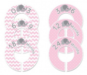 Pink Elephant #39 Girl Baby Closet Dividers Clothes Organisers Set of 6