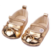 Etosell Baby Girls Leather Shoes Toddlers Prewalker Shoes Gold Size US 5 UK 4