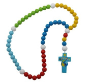 Boy 15mm Wood Bead First Rosary with Blue Cross & Colourful Beads- Children of the World