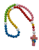 Girl 15mm Wood Bead First Rosary with Pink Cross and Colourful Beads - Children of the World