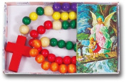 Non Toxic Wooden Kiddie Rosary with 5 Different Colours 50cm Boxed, Nice Baby, Christening and/or Nursery Gift