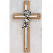 Blue Boys Wall Cross Oak Baby Infant Christening Baptism Shower Made in the USA