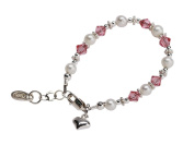 Sterling Silver Baby Pearl Bracelet with Pink Crystals and Heart for Infants and New Baby Shower Gift