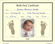 Birth Print Certificate - Inkless Footprint Baby Keepsake by Save The Moment